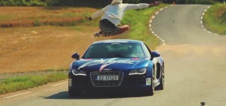 Audi R8 Jump Video – Man Jumps Audi R8 Driving 150 KPH (93 MPH)