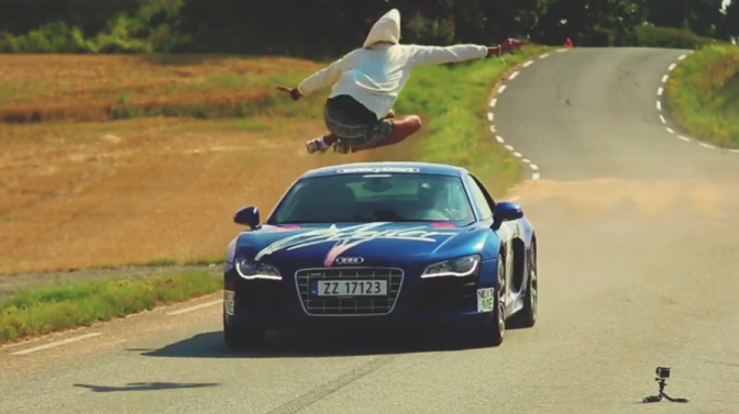 Man Jumps Audi R8