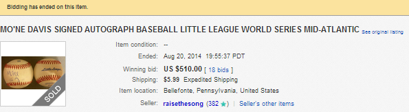 Mo'ne Davis Autographed Ball on Ebay