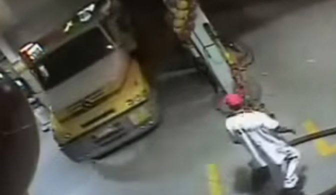Truck Driver Crashes into a Gas Station Texting and Driving