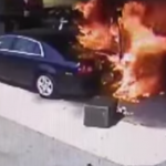 Car Crashes into Gas Pump – Crash Rescue by Off Duty Cop