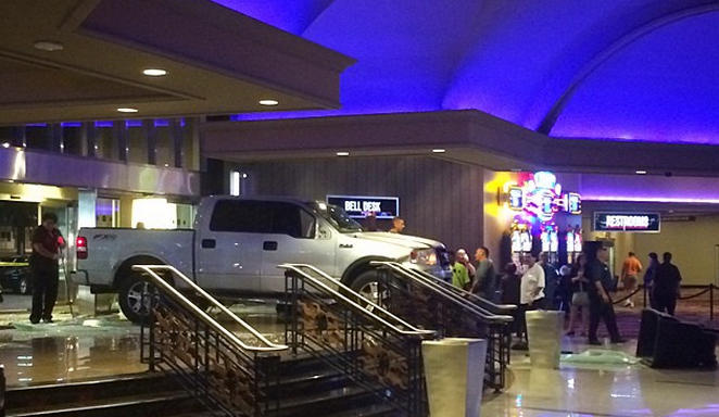 Man In Pickup Truck Crashes Into Stratosphere Hotel / Casino Ryan Brown