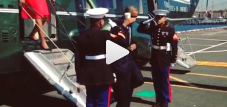 Obama Salutes Air Force One with Coffee Cup in Hand
