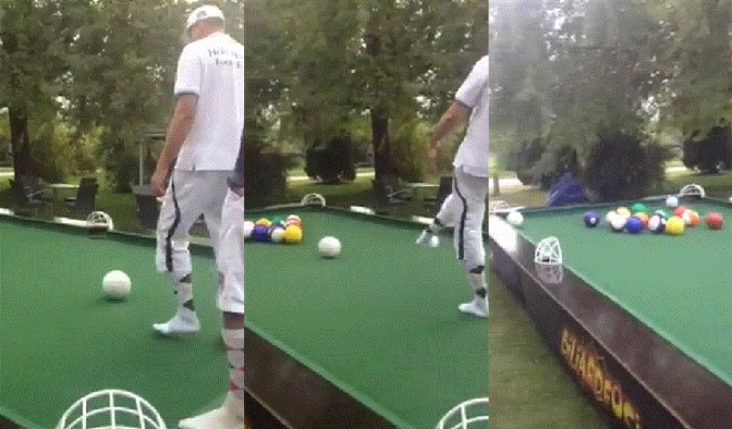 Billiards for Giants GIF - Soccer Balls on a Giant Pool Table