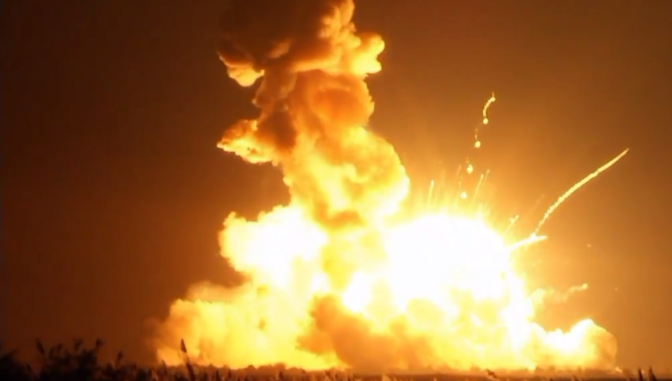 NASA Antares rocket explodes during launch VIDEO