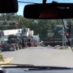 Stalled Semi Truck Hit By Train in Louisiana VIDEO