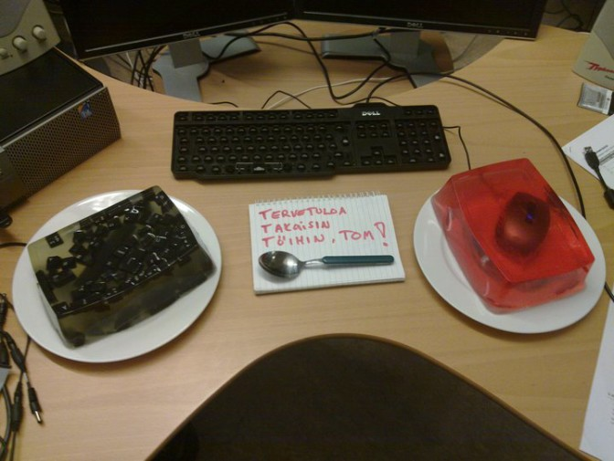Welcome Back To Work Tom Mouse And Keyboard In Jello