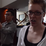 Woman Crying at Restaurant – Animal Actvist Protest