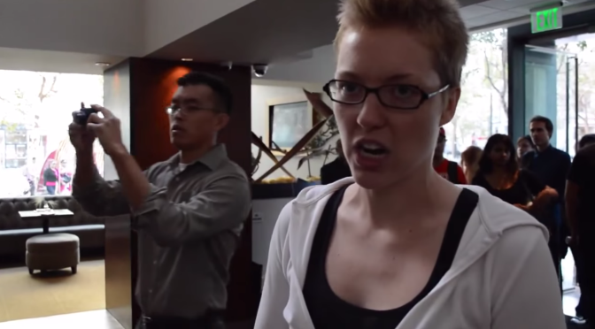 Woman Crying at Restaurant - Animal Actvist Protest
