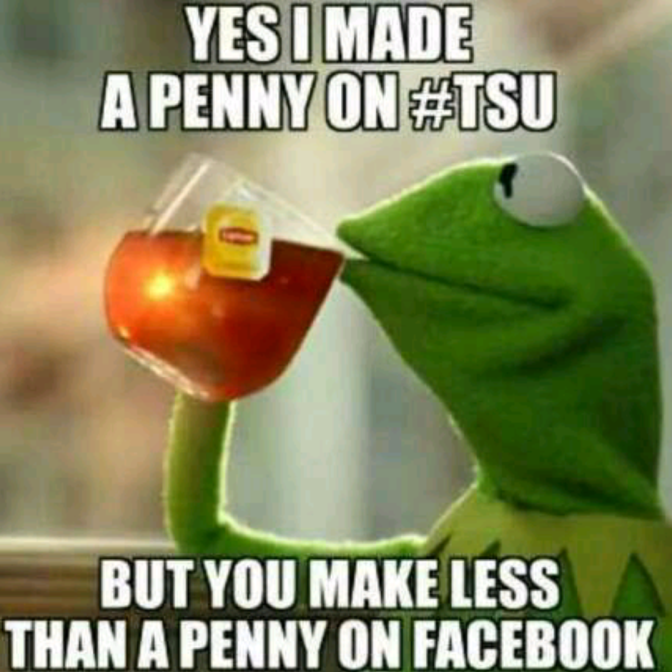 yes I made a penny on tsu but you make less than a penny on Facebook