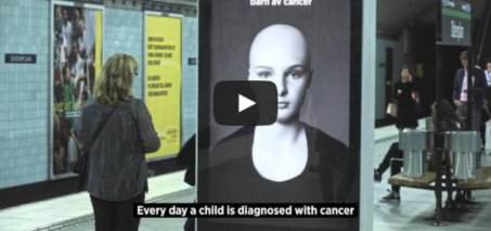 A hair-raising message: Subway Station Cancer Ad