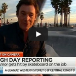 Australian Reporter Mike Amor hit with a skateboard at LA Skatepark