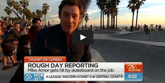 Australian Reporter Mike Amor hit with a skateboard at LA Skatepark