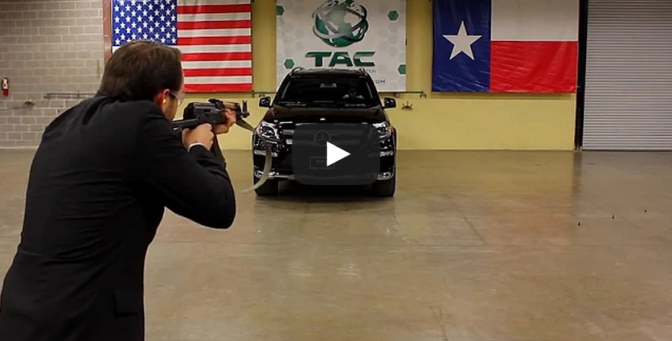 Bulletproof Mercedes Benz Shot with AK-47