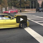 C7 corvette nearly wrecks while drag racing against an M3. Burnout FAIL