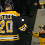 Young Fan Fist Bumps Boston Bruins after Pregame Warm Up