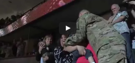 Soldier Surprises Wife at Ducks Game