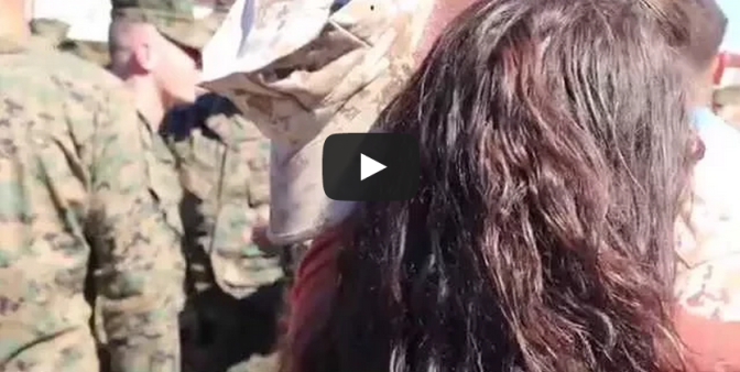 The Surprise - Wife surprises Marine husband during his return