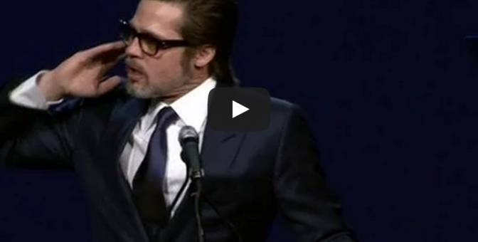 Brad Pitt leads awards ceremony sing along