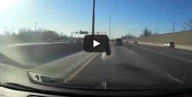 Car Tire Smashes Through Windshield