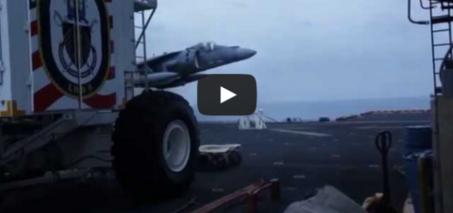 AV-8B no gear landing on USS Bataan