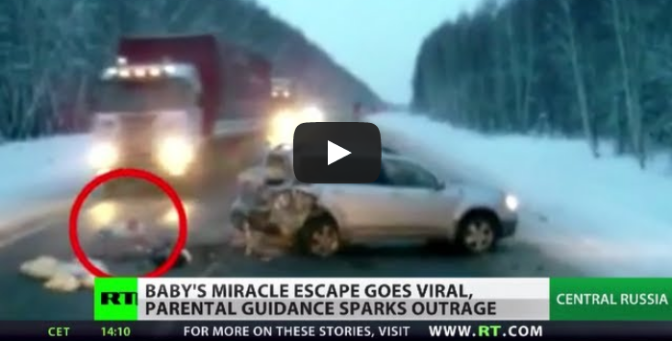 Baby's miracle escape goes viral after car crash on snowy Russian road