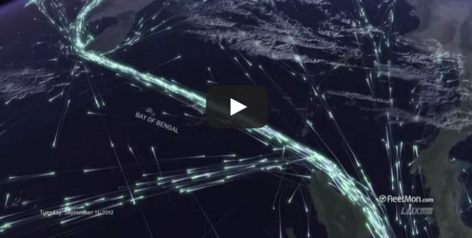 Global ship traffic seen from space