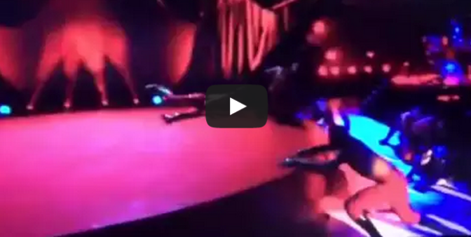 Madonna falls of stage at Brit awards 2015