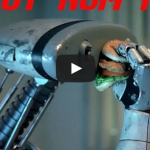 Robot Nom Nom – Man eats his food like a robot