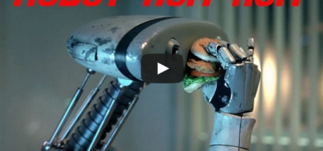 Robot Nom Nom – Man eats his food like a robot