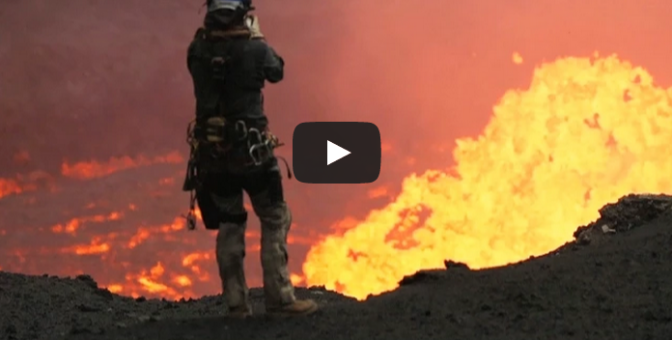 drones fly over volcano