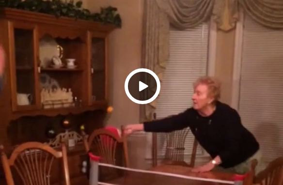 Grandma loves ping pong.