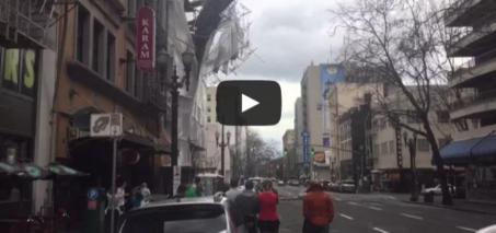 Scaffolding Falling Off Building Downtown Portland, Oregon.