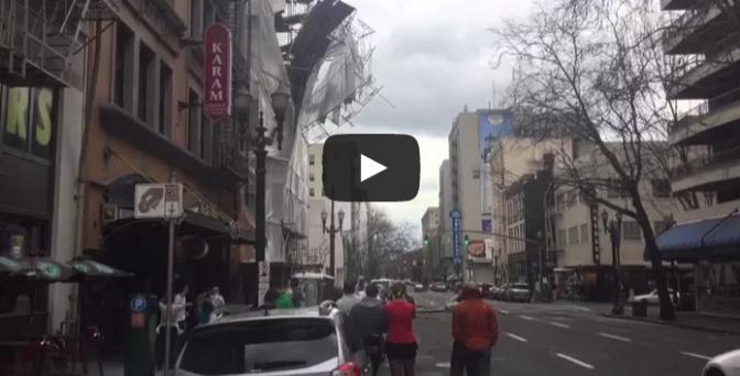 Scaffolding Falling Off Building Downtown Portland Oregon