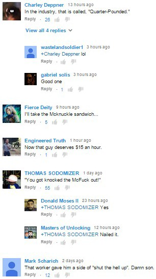 Comments on McDonald's worker LIGHTS UP drunk college student