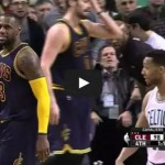 "LeBron James blocks Evan Turner at the rim, says ""You tried!"""