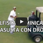 Drone flying on a golf course scares a golfer