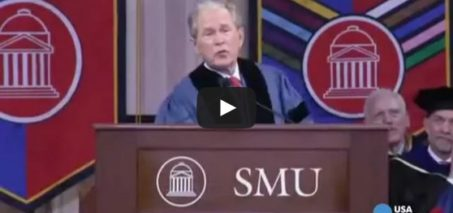 George W. Bush jokes during SMU commencement