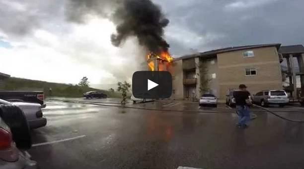 Apartment Fire caught on camera