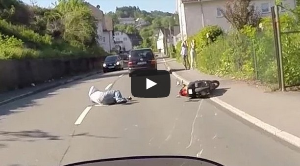 Scooter rider deliberately rammed off the road