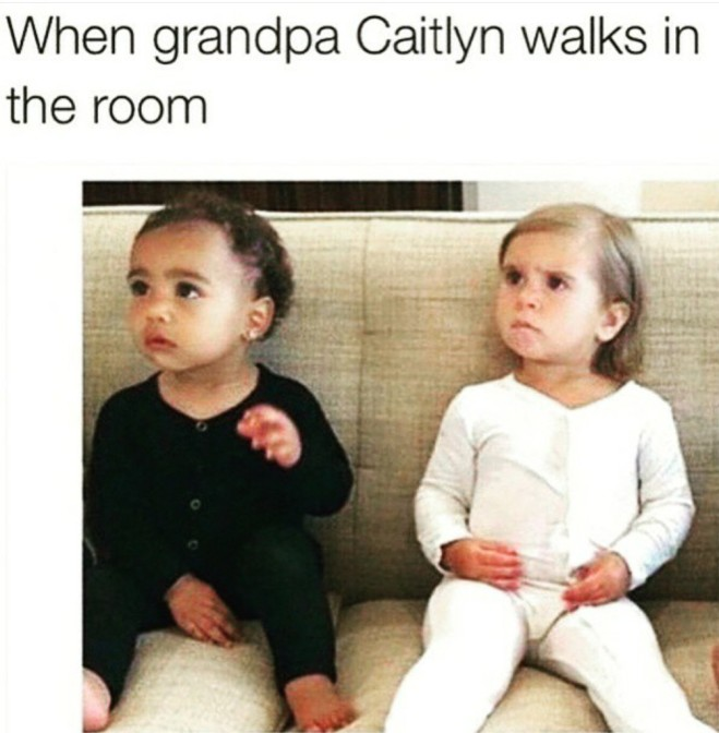 When grandpa Caitlyn walks in the room
