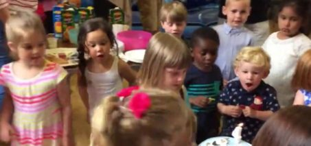 Kid hilariously blows out birthday girl's candle!