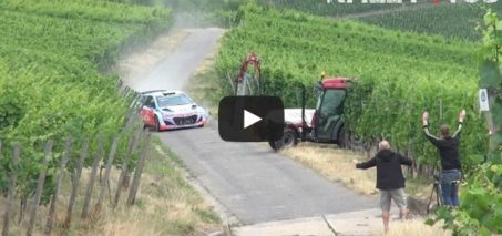 Neuville almost crash with a tractor | Rally Deutschland Test 2015 [HD]