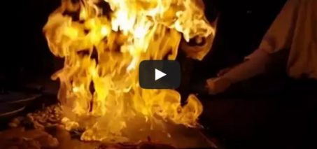 The classic Benihana onion volcano fire trick in slow motion