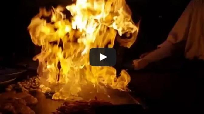 The classic Benihana onion volcano fire trick in slow motion