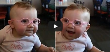 This Sweet Baby Girl Is So Happy To Be Seeing Clearly For The First Time With Her New Glasses