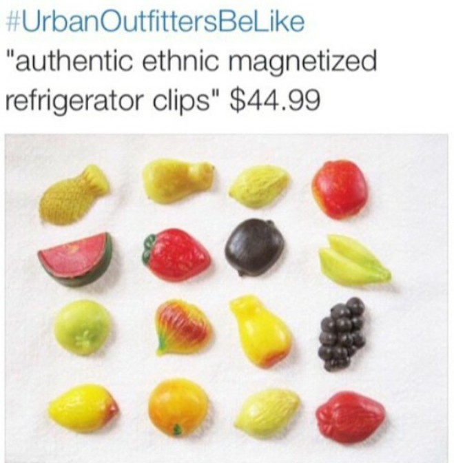 Urban Outfitters be like authentic ethnic magnetized refrigerator clips $44.99