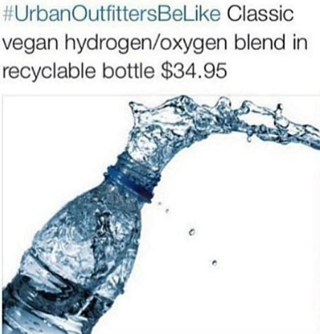 Urban Outfitters be like classic vegan hydrogen oxygen blend in recyclable bottle $34.95