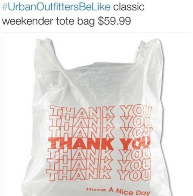 Urban Outfitters be like classic weekender tote bag $59.99