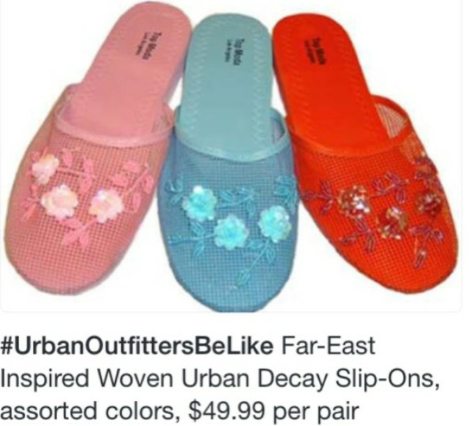 Urban Outfitters be like far east inspired woven urban decay slip ons assorted colors $49.99 per pair